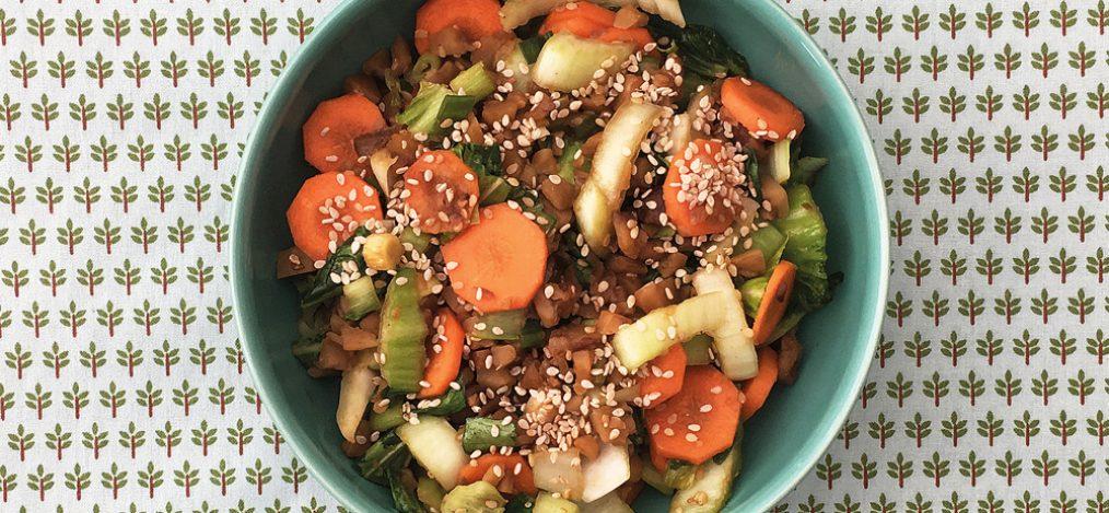 schale mit Pak-Choi mit Maronen-Sesamsauce